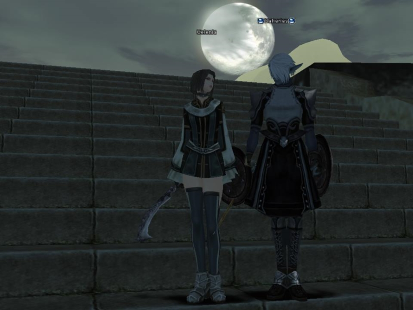 Celenia and Zaharias under the moonlight